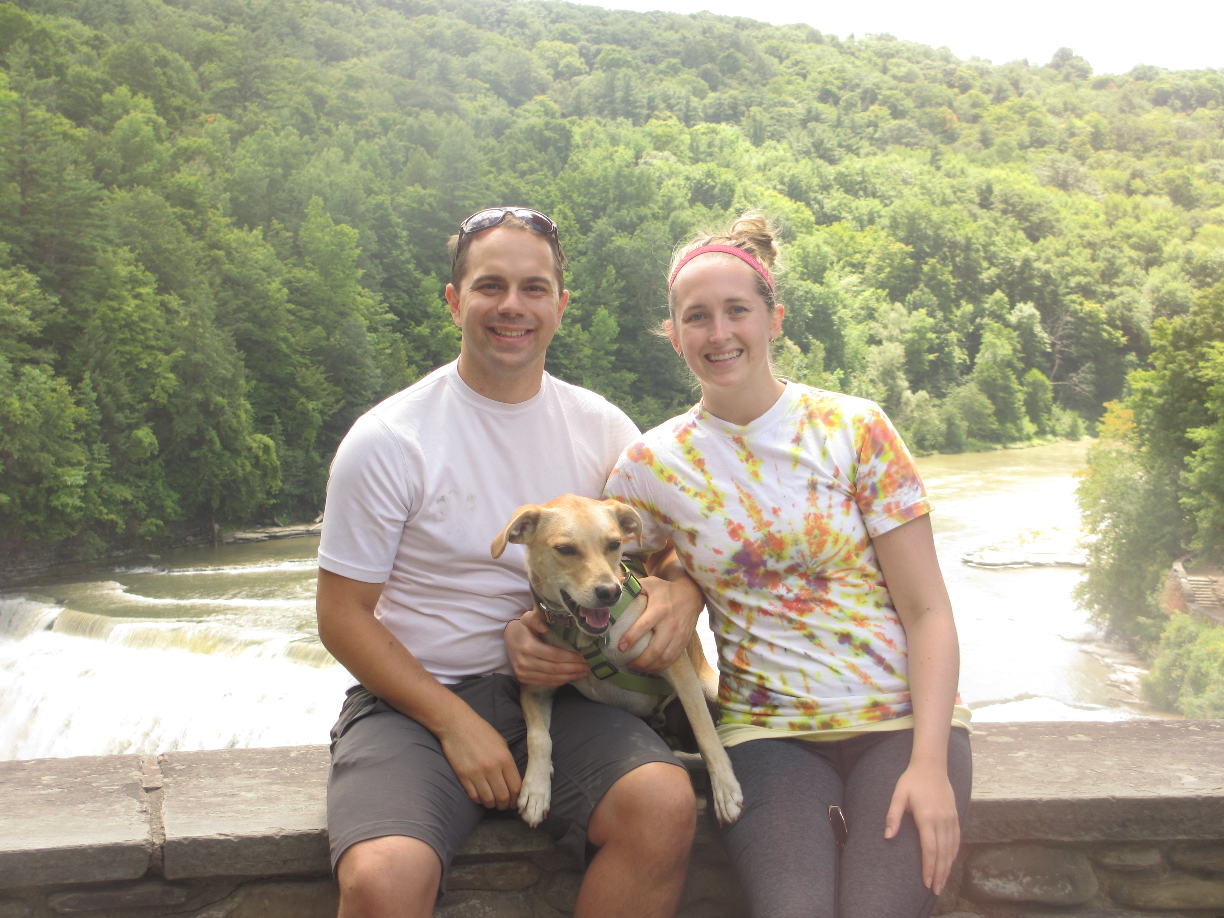 Chad and Elle Woodworth, with their dog, Alfie, have enjoyed hiking at Letchworth State Park as they've explored Western New York.
