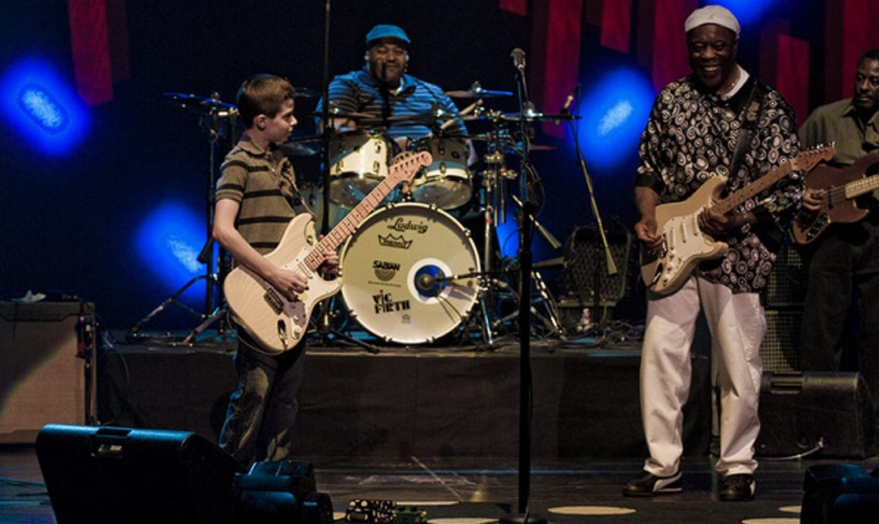 Talented young area guitarist Hayden Fogle, left, has jammed with the likes of Buddy Guy,