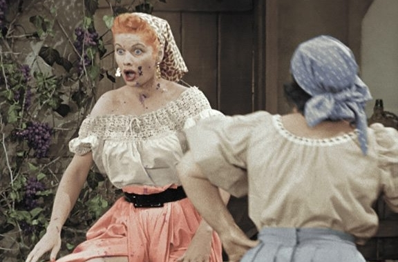 """Lucille Ball stomps grapes in a classic episode of """"I Love Lucy,"""" a scene that will be re-created Oct. 11."""