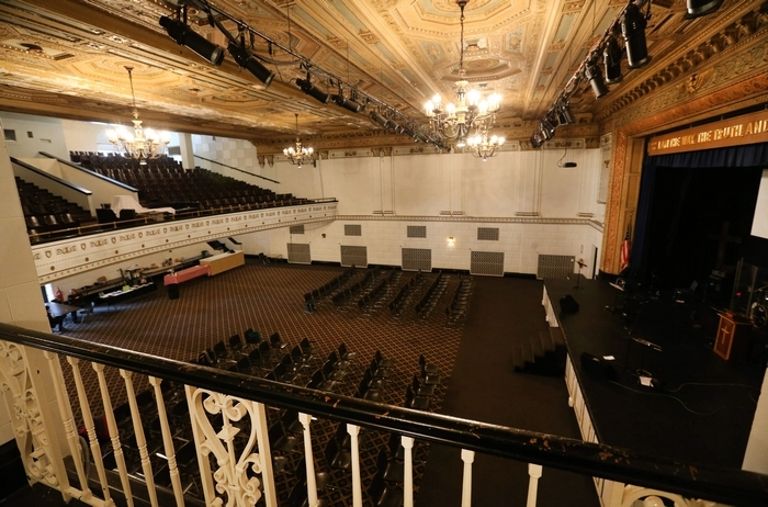 The cavernous Forbes Theatre at 512 Pearl St. is the new home of Road Less Traveled Productions. (Sharon Cantillon/Buffalo News)