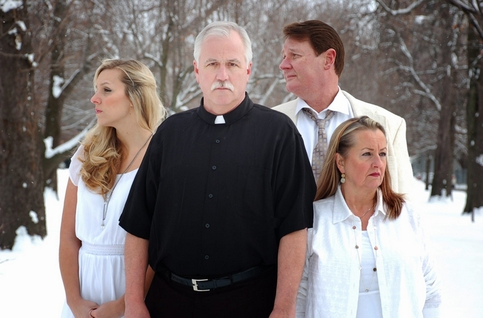 "Candice Kogut, left, Mike Randall, Richard Lambert and Pamela Rose Mangus appear in the New Phoenix Theatre's production of Lanford Wilson's ""Angels Fall."""