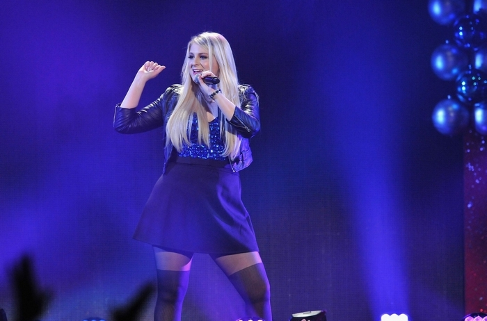 TAMPA, FL - DECEMBER 22:  Meghan Trainor performs onstage during 93.3 FLZ's Jingle Ball 2014 at Amalie Arena on December 22, 2014 in Tampa, Florida.  (Photo by Gerardo Mora/Getty Images for iHeartMedia)