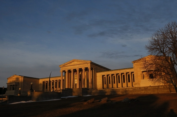 Intense morning light paints the Albright Knox Art Gallery as the sun rises, Tuesday, April 1, 2014.  (Derek Gee/Buffalo News) (Derek Gee/Buffalo News)