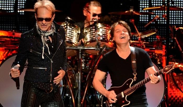 Van Halen, from left, Dave Lee Roth, Alex Van Halen and Eddie Van Halen perform in Los Angeles in 2012. (/Getty Images)