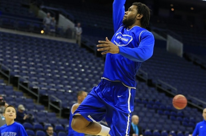 UB's Justin Moss, practicing in Nationwide Arena, will have the full attention of the West Virginia Mountaineers on Friday. Harry Scull Jr./Buffalo News