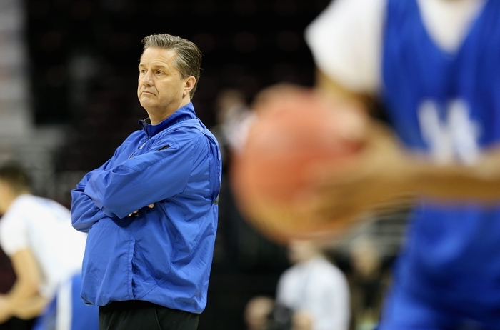 Kentucky coach John Calipari watches his team practice Wednesday. (Getty Images)
