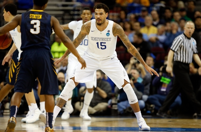 At seven-foot tall, Kentucky's Willie Cauley-Stein is an imposing figure on the perimeter of the Wildcats' defense. (Getty Images)