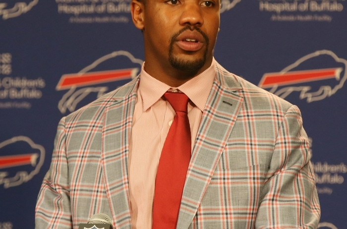 The Buffalo Bills today announced that the team has re-signed DE Jerry Hughes. Hughes spoke to the media at  the Ralph Wilson Media Room in Orchard Park,NY on Monday, March 9, 2015.  (James P. McCoy/ Buffalo News)