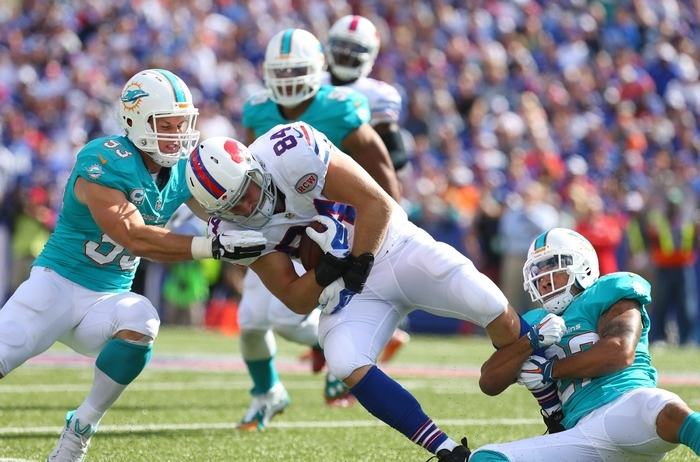 Finding a replacement for tight end Scott Chandler is among the Bills' highest priorities. (Mark Mulville/Buffalo News)