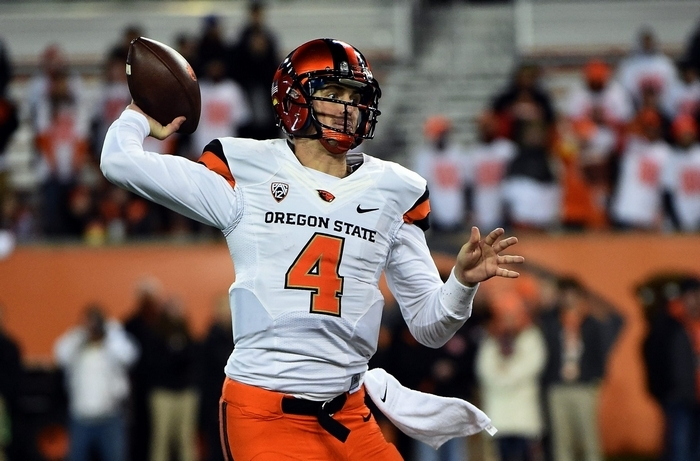 At 6-foot-6, 229 pounds, QB Sean Mannion is a classic pocket passer in a pro style offense at Oregon State. (Getty Images)