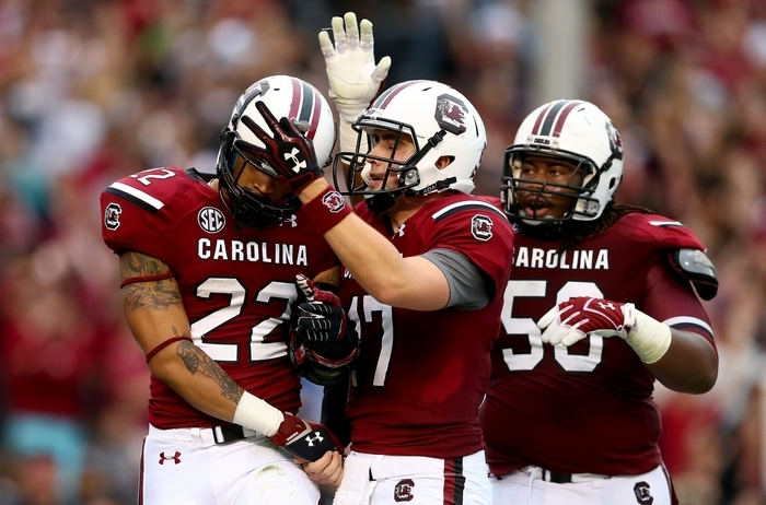 South Carolina guard A.J. Cann (50) is ideally suited for a power rushing attack like the Buffalo Bills plan to use. (Getty Images)