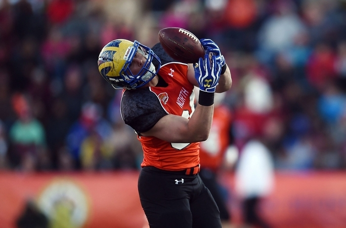 Tight end Nick Boyle had some dropped passes in the Senior Bowl game in January but has NFL potential as fifth-sixth round pick. (Getty Images)