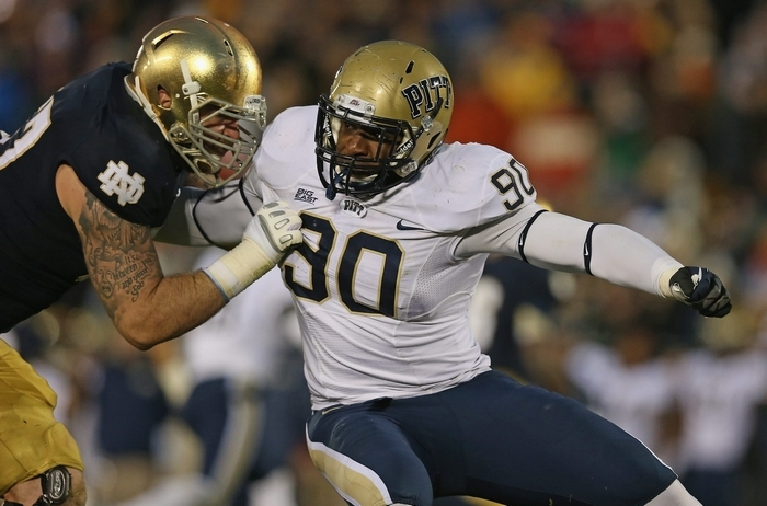 T.J. Clemmings was a defensive end at Pitt before he was converted to offensive tackle in 2013. (Getty Images)