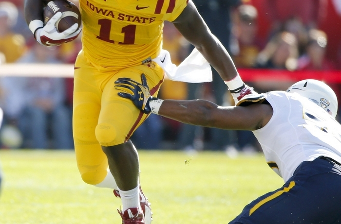 Tight end E.J. Bibbs of Iowa State caught eight touchdown passes in 10 games last season. (Getty Images)