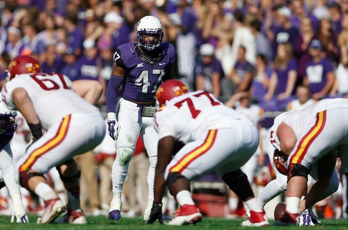TCU linebacker Paul Dawson was Big 12 Defensive Player of the Year and a first-team All American in 2014 but has some question marks about his character. (Getty Images)