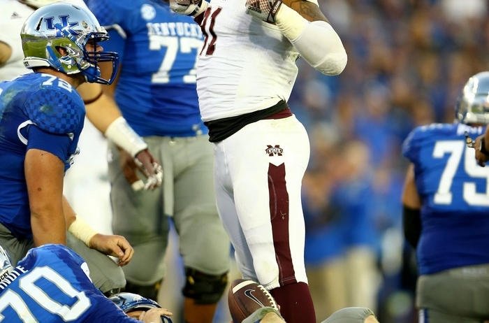Defensive lineman Preston Smith of Mississippi State has long arms that helped him to record at least one tackle for loss in 12 of his last 13 games. (Getty Images)