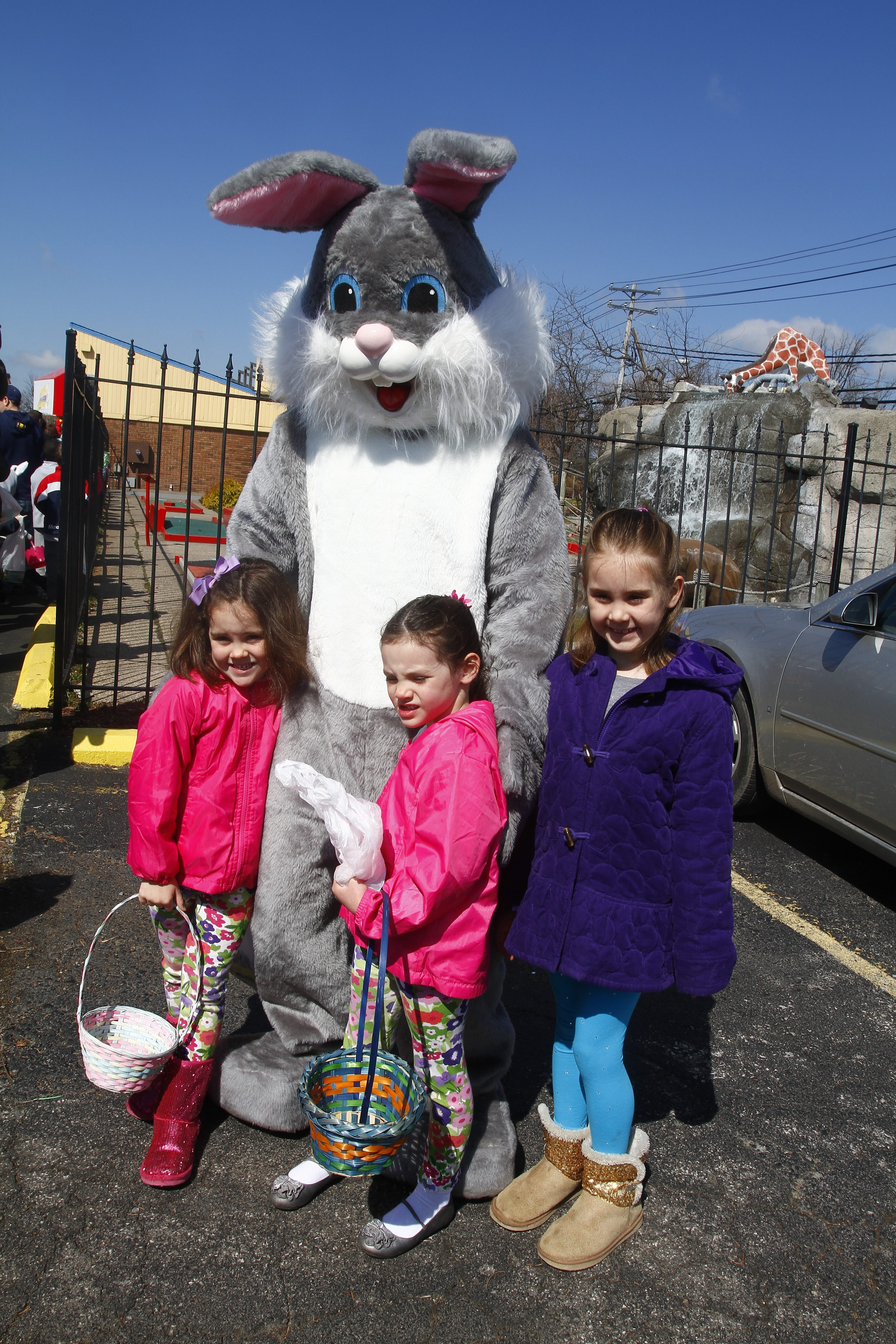 The Easter Bunny greets people in line  at a  Easter Egg Hunt to benefit Variety Club of Buffalo at   Adventure Landing in Town of  Tonawanda, N.Y. on  Saturday, April 19, 2014.   (John Hickey / Buffalo News)