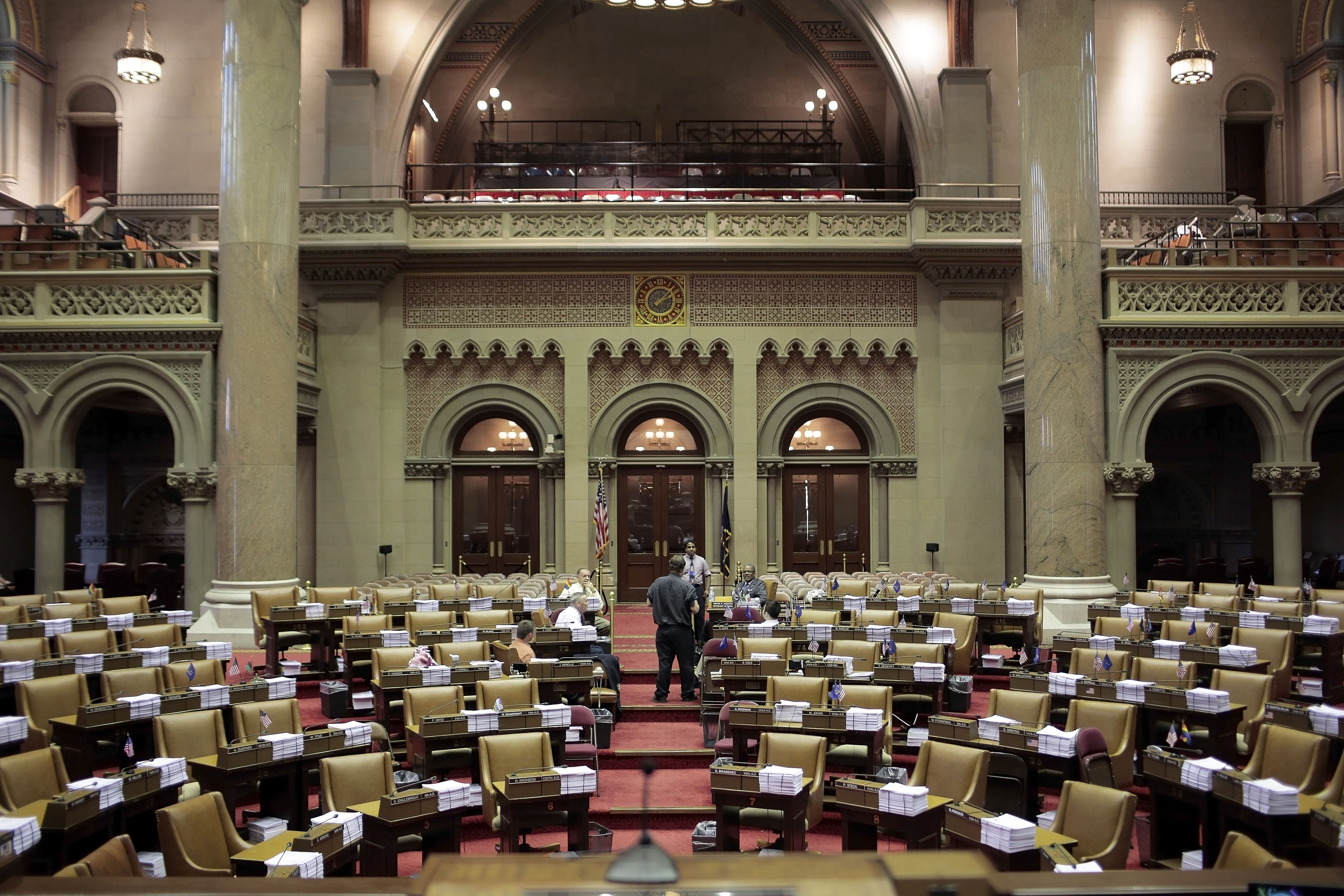 The State Assembly chamber in the State Capitol Building. The Cuomo administration early Monday disputed Assembly Speaker's statement that the state Ed Dept would decide how to toughen teacher evaluations.   (New York Times)