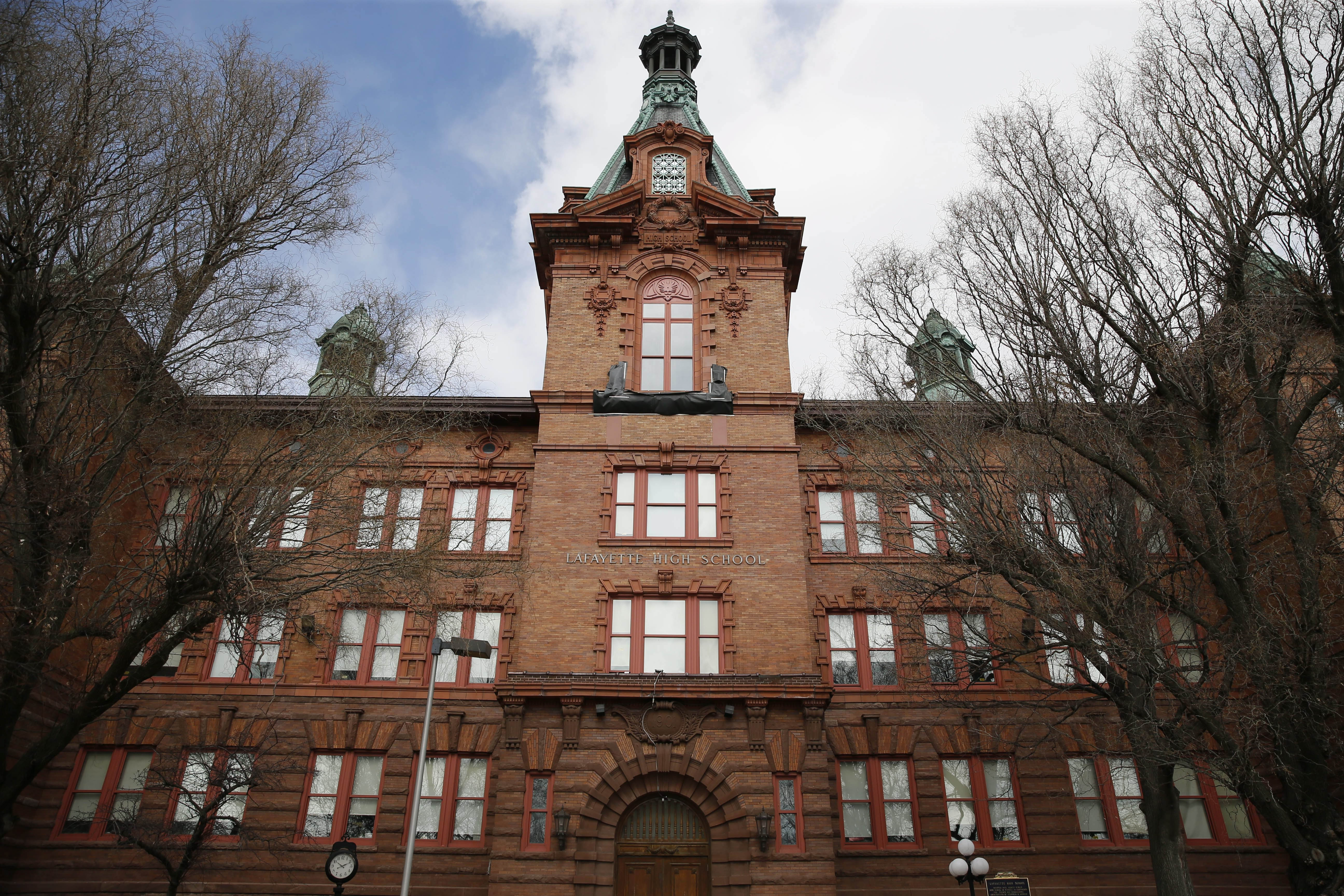 Lafayette High School in Buffalo is among the  27 troubled schools statewide that will be given one year to show improvement or an outside receiver can be appointed.  (Derek Gee/Buffalo News)