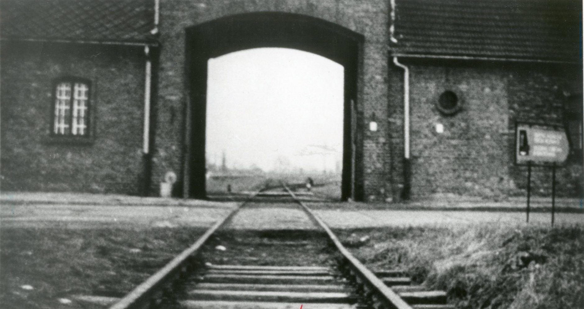 The entrance to the notorious concentration camp at Auschwitz.