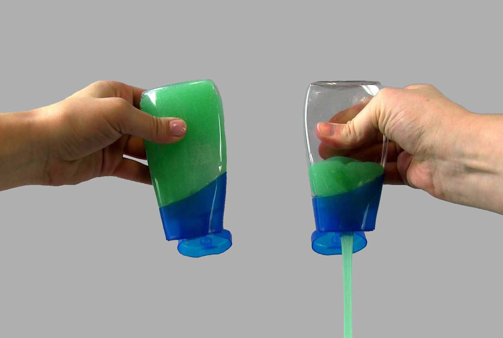 Toothpaste clings to the bottle on the left but flows freely from the one on the right, which is coated with LiquiGlide. The slippery coating is designed to prevent glue, paint, lotion and all sorts of substances from sticking to their containers.