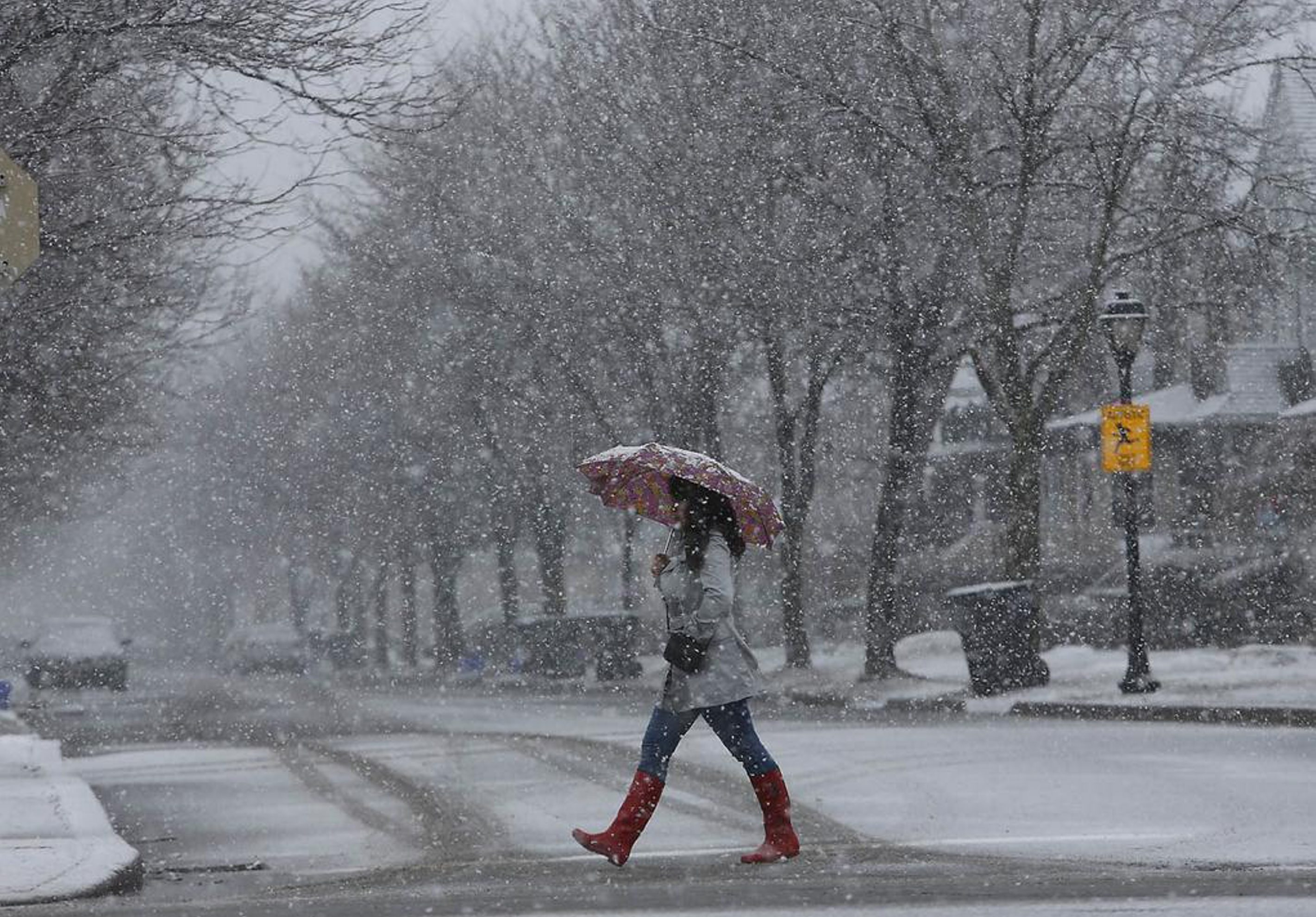 Spring showers look a lot like winter in  Buffalo. Photo by Derek Gee/Buffalo News