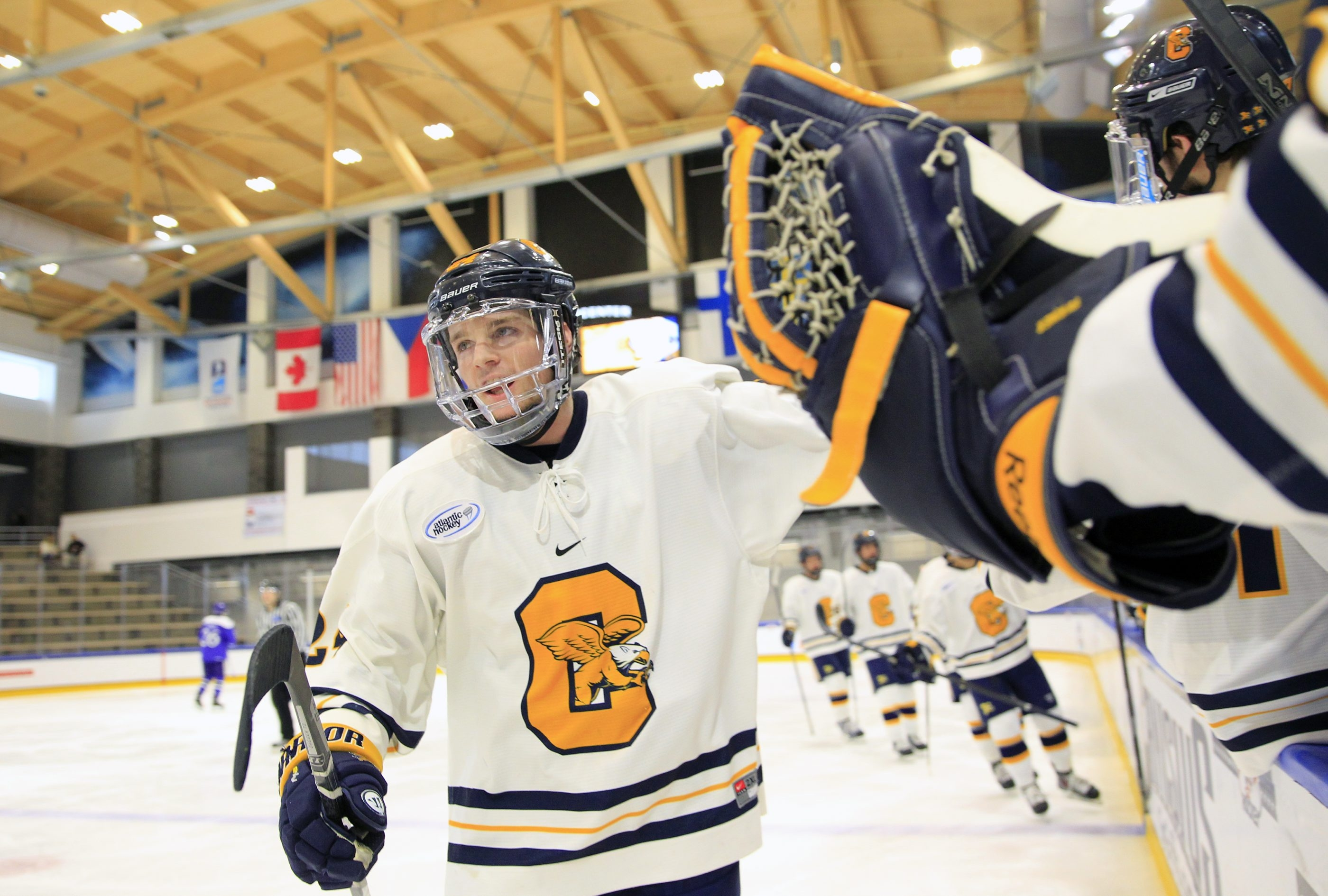 Canisius defenseman Chris Rumble says he never gets tired of telling about his triumph over leukemia.