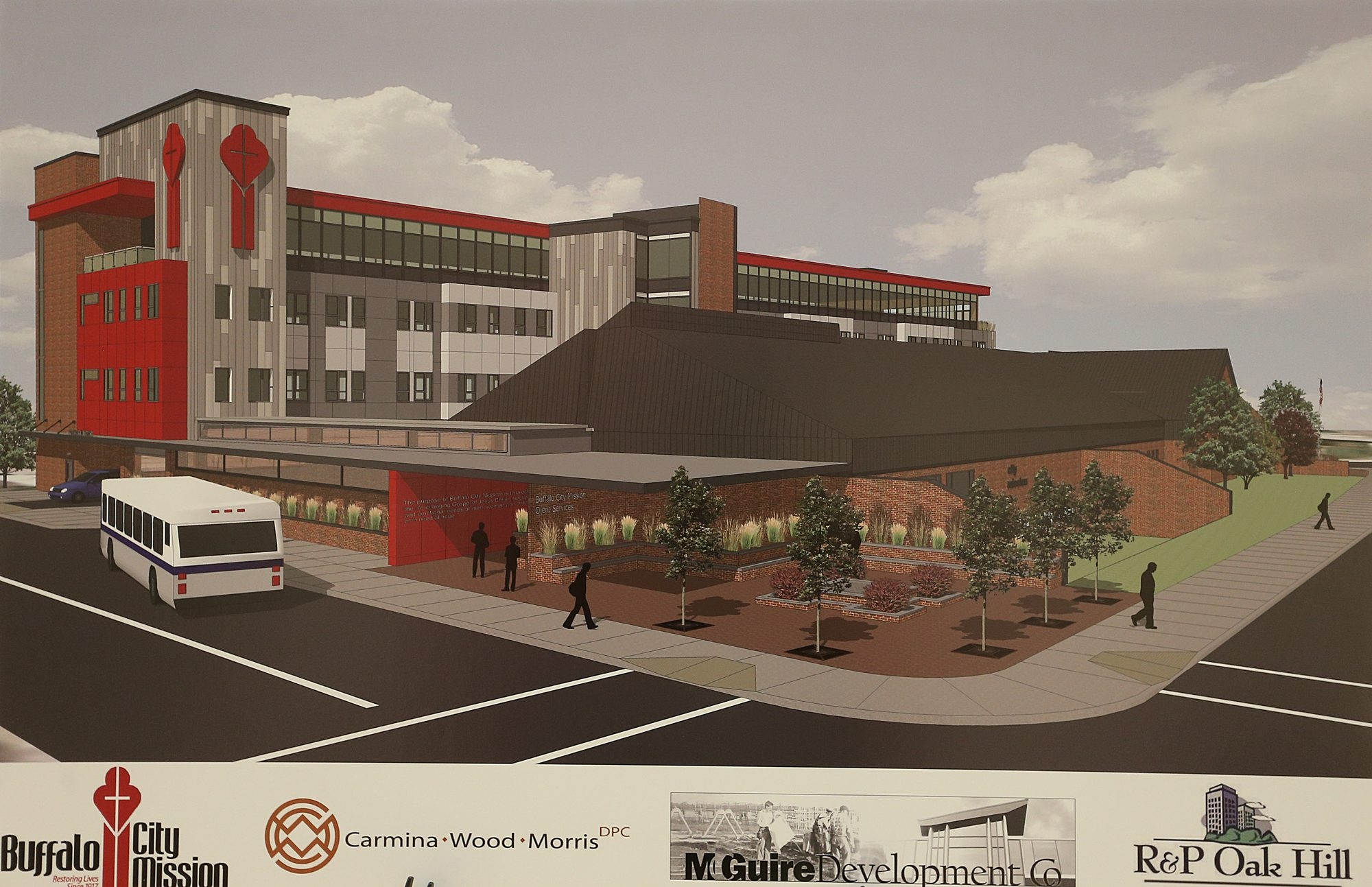 An artist's rendering of the proposed expansion of the Buffalo City Mission shows housing units on the current parking lot.