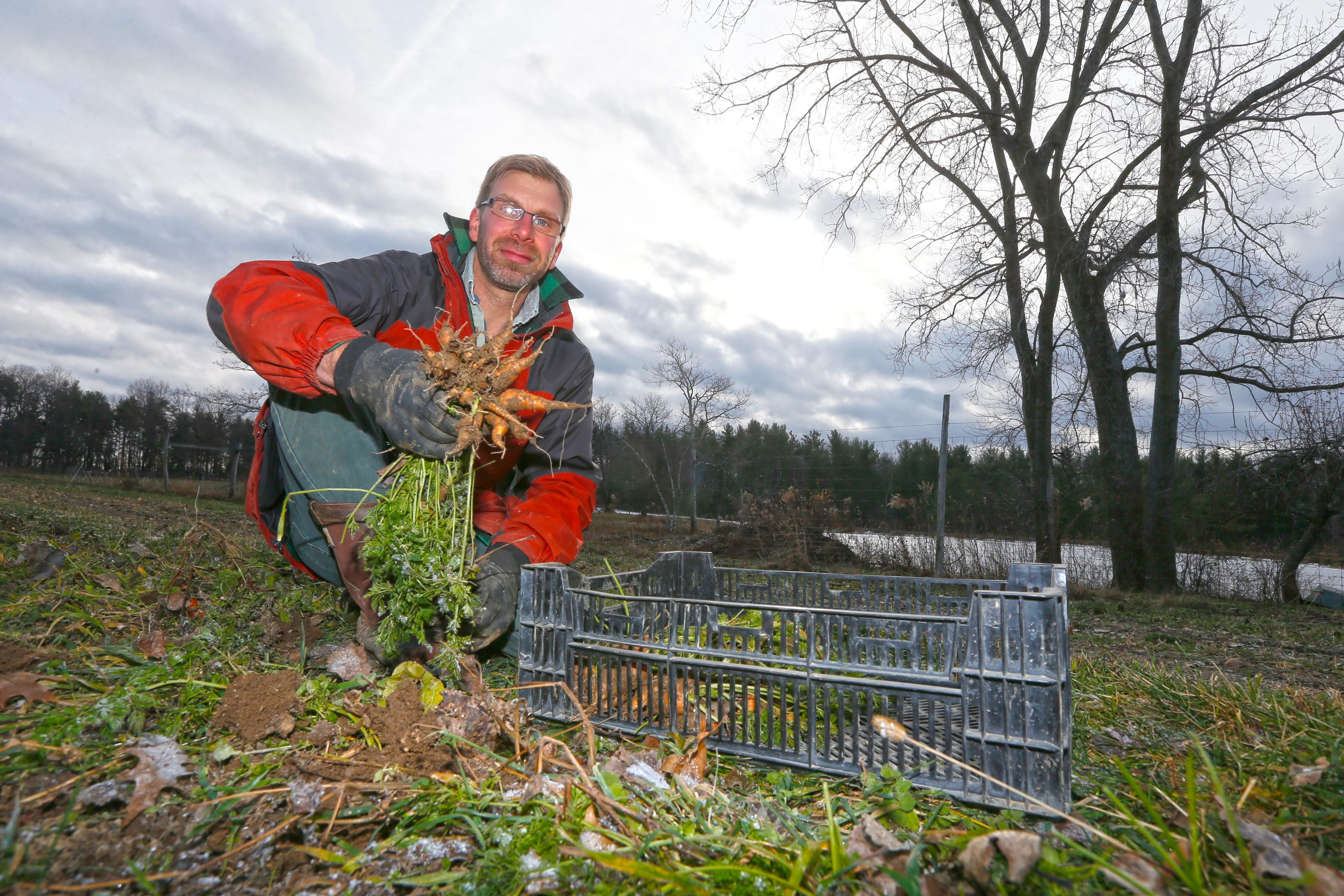 Dan Roelofs, who took over his family-owned Arden Farm in East Aurora after moving here from Massachusetts about eight years ago, harvested carrots before the ground froze back in early December.