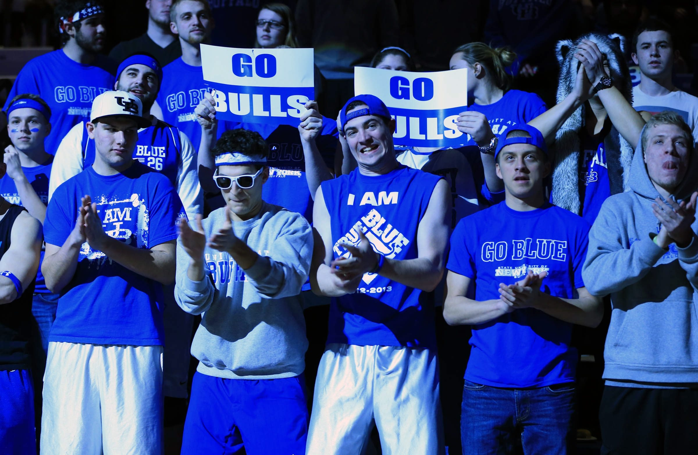 Students cheer on the Bulls during a game at Alumni Arena at UB's North Campus. The Bulls will play West Virginia in Columbus, Ohio, Friday.