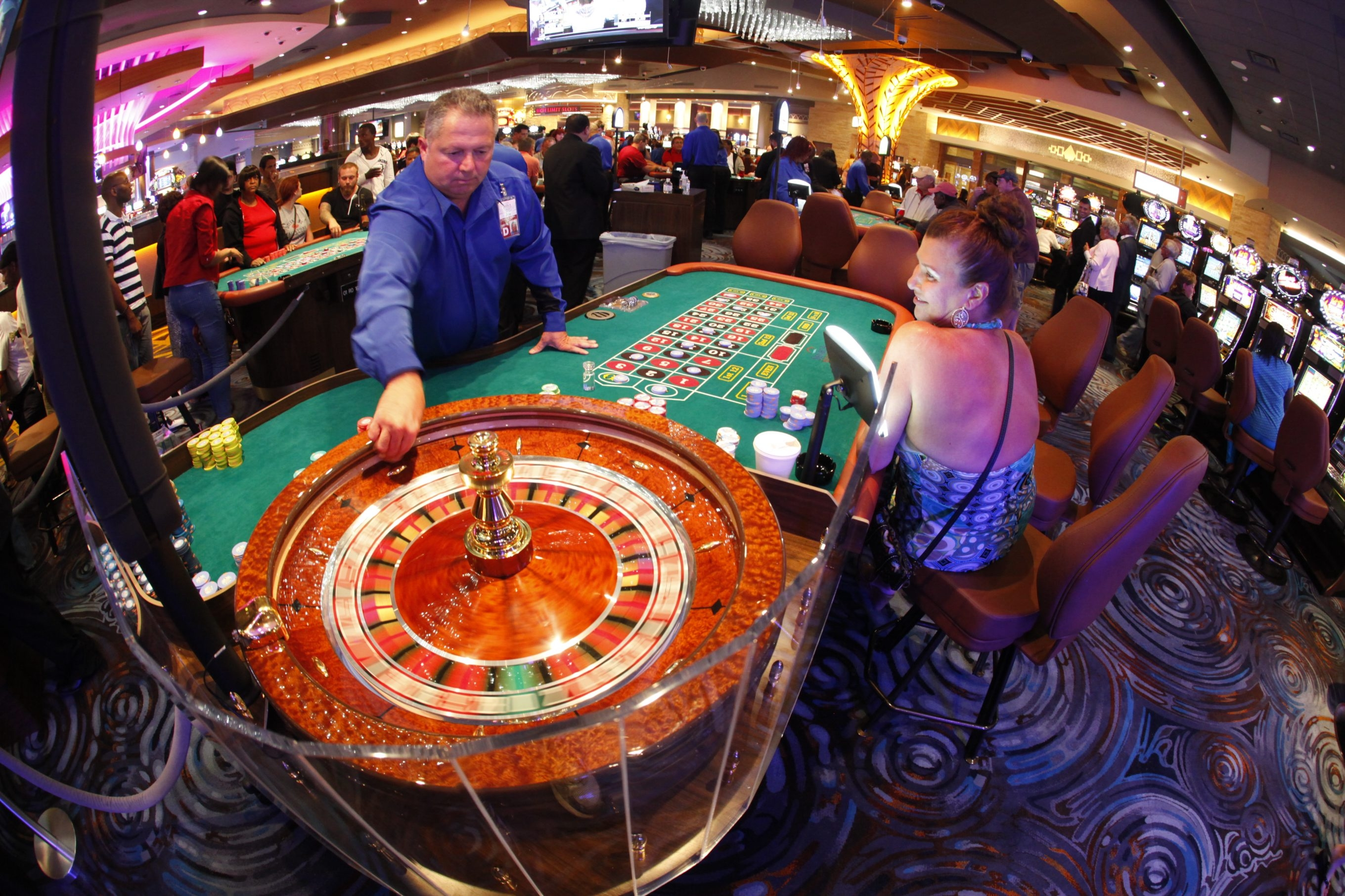 Gambling at casinos surged 10.7 percent in the year ended in January, the biggest gain since December 2006.