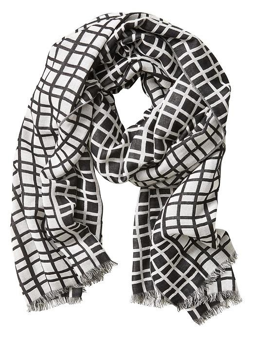 Black-and-white scarf in windowpane print from Banana Republic adds the finishing touch to an outfit.