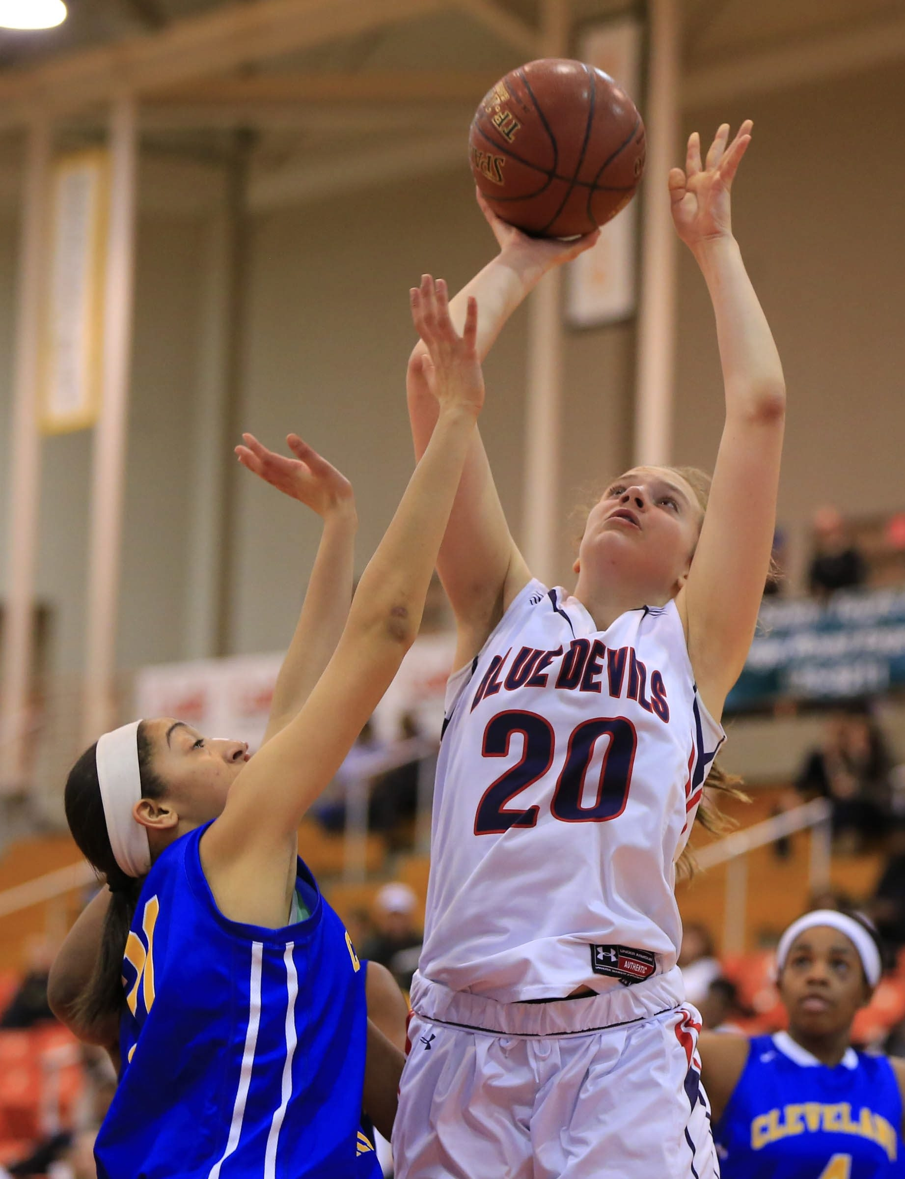 East Aurora's Emma Brinker had 29 points, 16 rebounds and seven blocks to lead the Blue Devils to the Section VI Class B title.