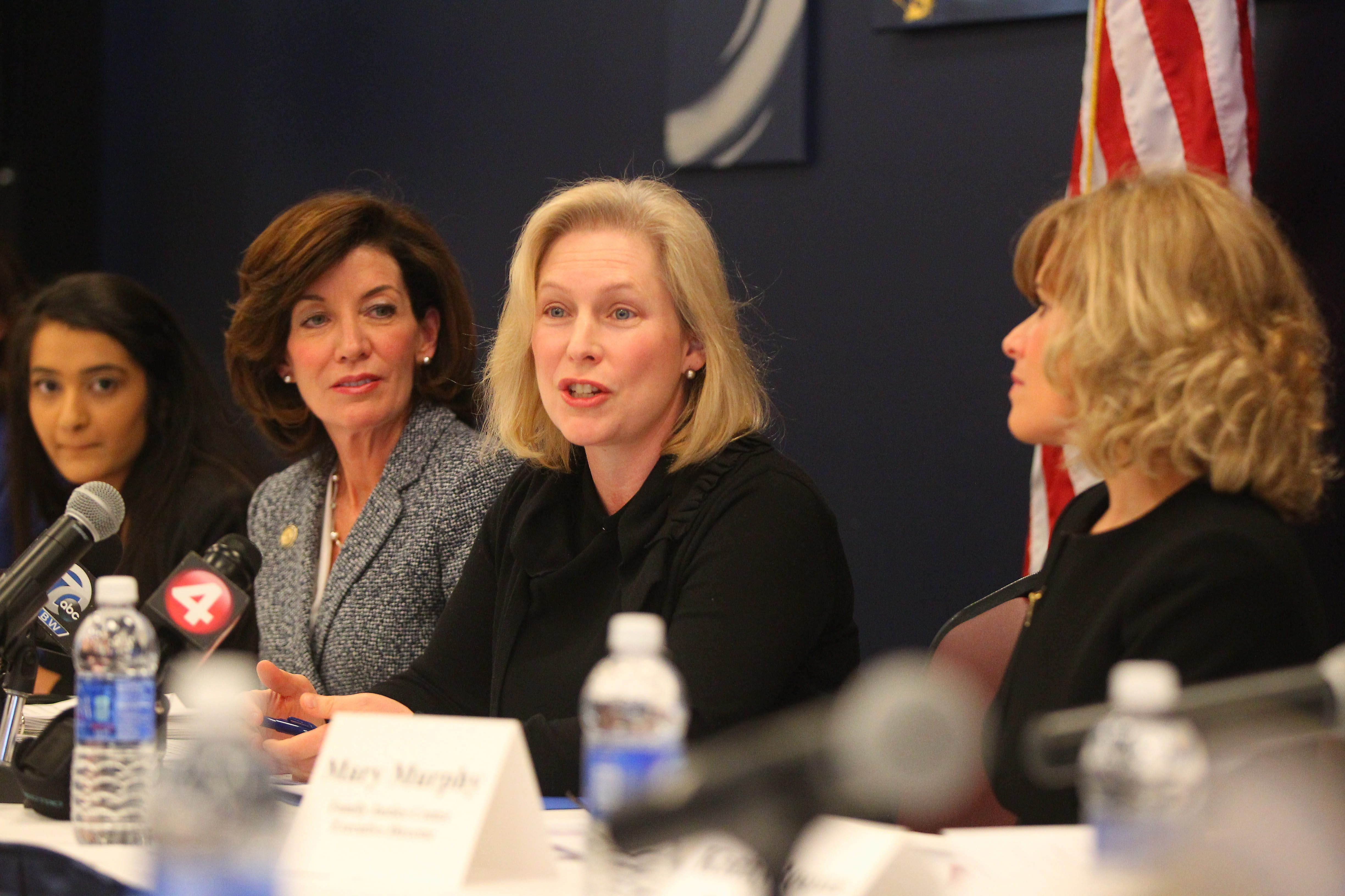 Sen. Kirsten Gillibrand,speaking, and Lt. Gov. Kathy Hochul, to her right, led a conference at UB this week on combating sexual violence on college campuses. (Mark Mulville/Buffalo News)
