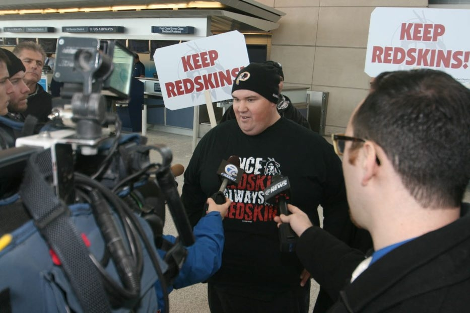 """Joe L. Milk, an Ogala Sioux and gaming inspector at a casino in Martin, S.D., visited Buffalo to express his support for the Lancaster School District's use of the name Redskins for the districts athletic teams. He was given a """"Once a Redskin, Always a Redskin"""" shirt by a Lancaster pro-Redskins group late Monday."""