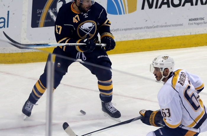 Zach Bogosian has seen a lot of ice time since arriving in the trade with Winnipeg. (James P. McCoy/Buffalo News)