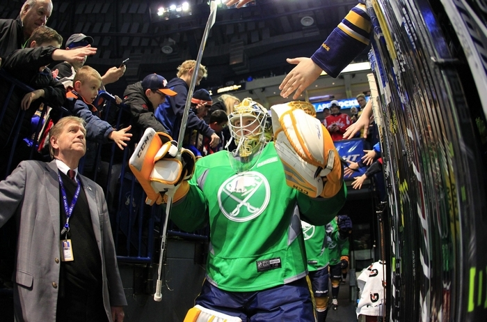 The green St. Patrick's Day jerseys worn by the Sabres during warm-ups Monday are up for bid via Auction.NHL.com until 9 p.m. Sunday, proceeds benefiting the Sabres' foundation. (Harry Scull Jr./Buffalo News)