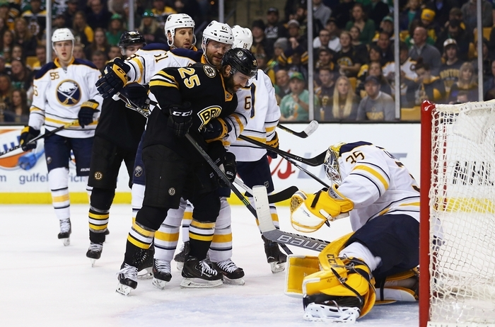 Bruins' Maxime Talbot looks for a shot on goal against Sabres Anders Lindback, who stopped 44 shots in the game and two more in the shootout to lead Buffalo to a win over Boston.