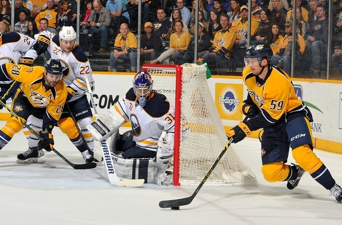 Sabres goalie Matt Hackett's recovery from his knee injury has been a slow, at times, painful process. (Getty Images)
