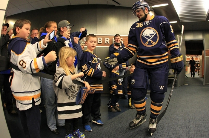 Despite the team's situation this season, Angola native Patrick Kaleta has always taken pride in wearing the Sabres' colors. (Harry Scull Jr./Buffalo News)