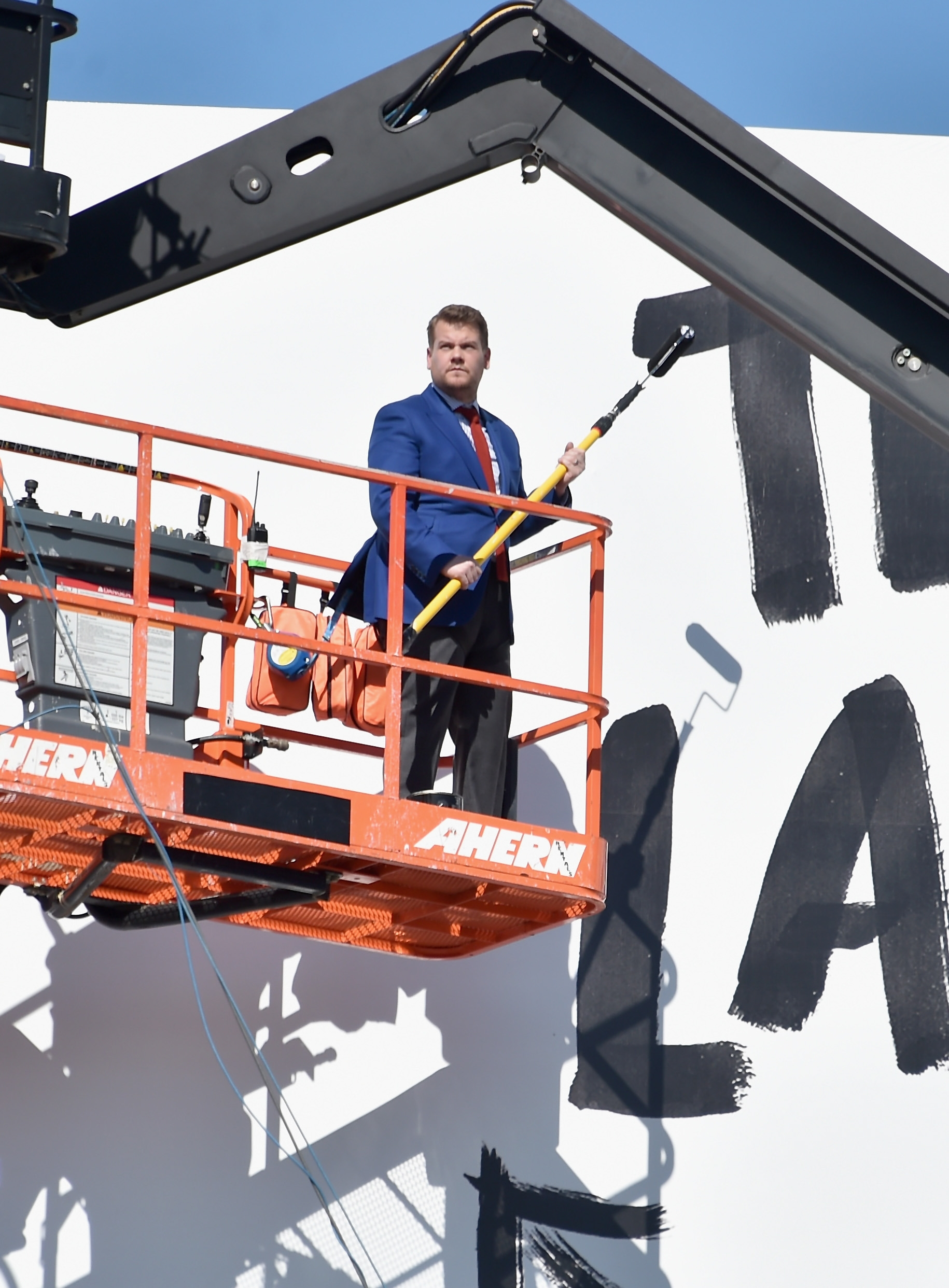 """Actor and host James Corden puts up his own billboard Friday in Los Angeles for CBS Television Network's """"The Late Late Show."""""""