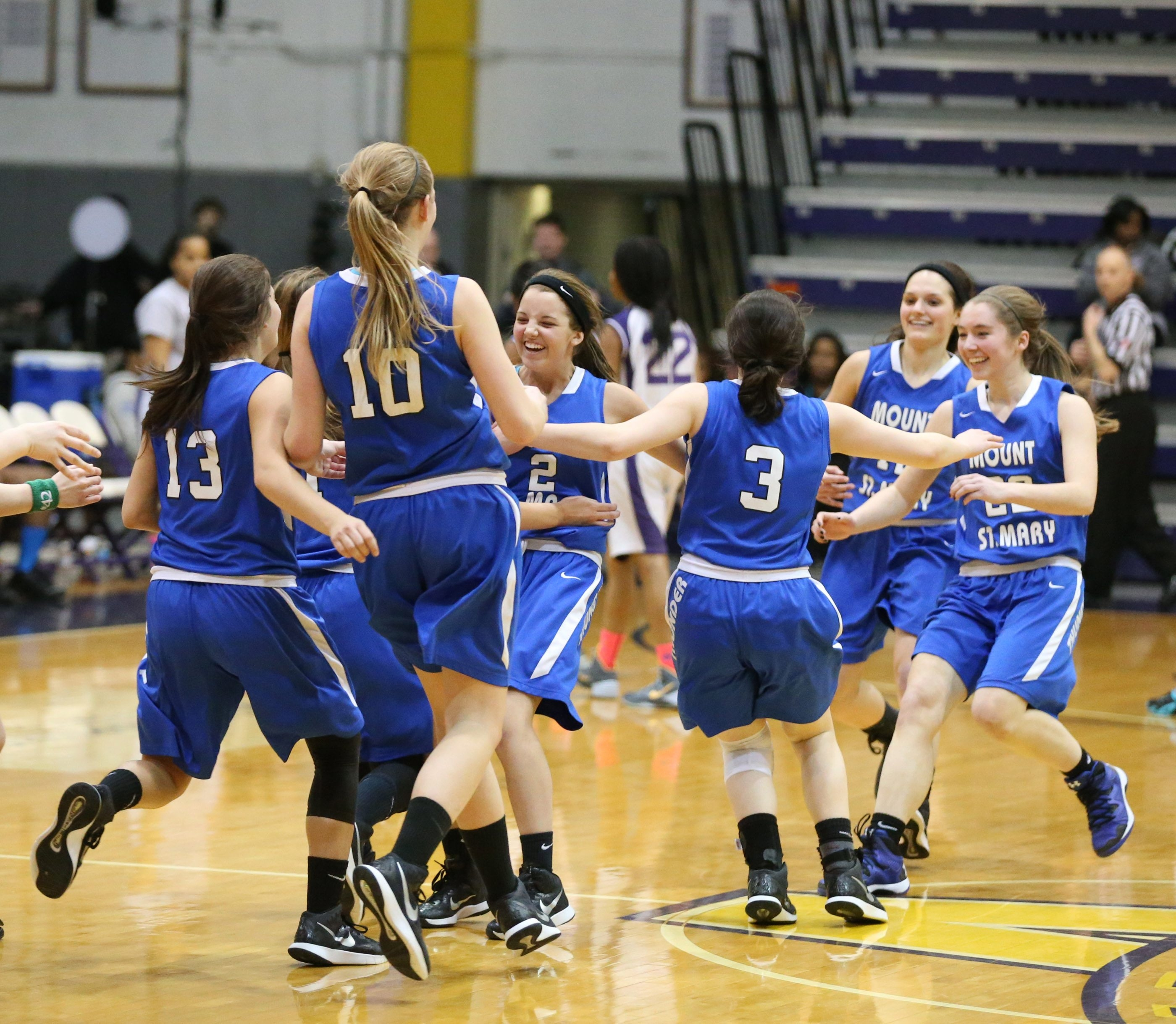 Mount St. Mary celebrates after beating Brooklyn College to advance to the finals in the NYS Federation Tournament of Champions.
