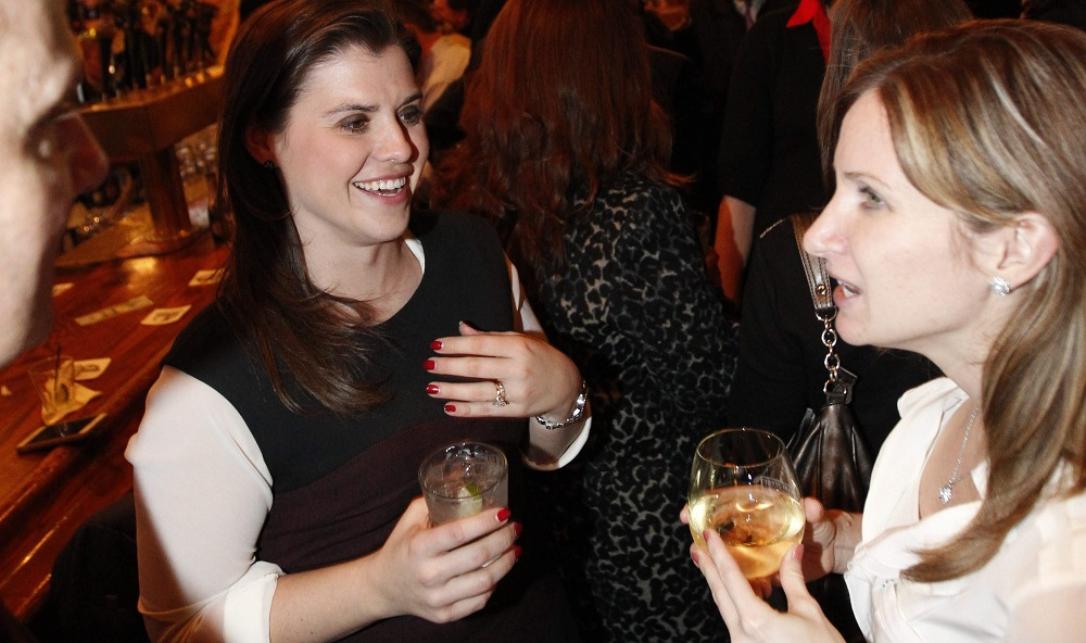 Julia Hilliker, left, and Melissa Subjeck have a few drinks while hanging out at the main bar in Pearl Street Grill & Brewery. To see a photo gallery, visit buffalonews.com. (Photos by Sharon Cantillon/Buffalo News)