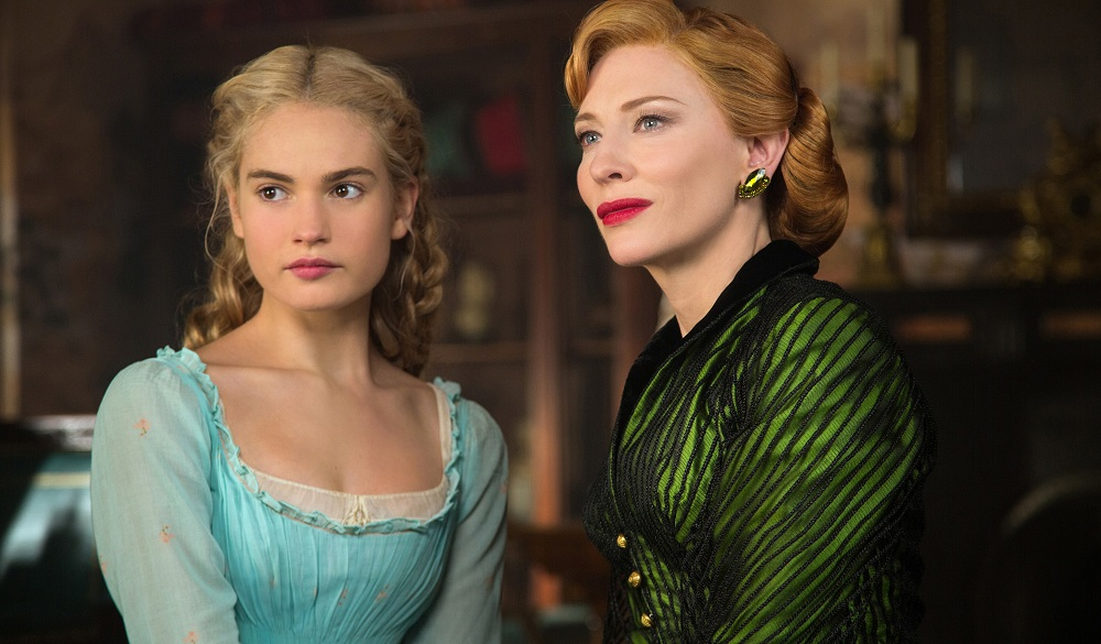 "Lily James is Cinderella and Cate Blanchett is the Stepmother in Disney's live-action feature ""Cinderella."""
