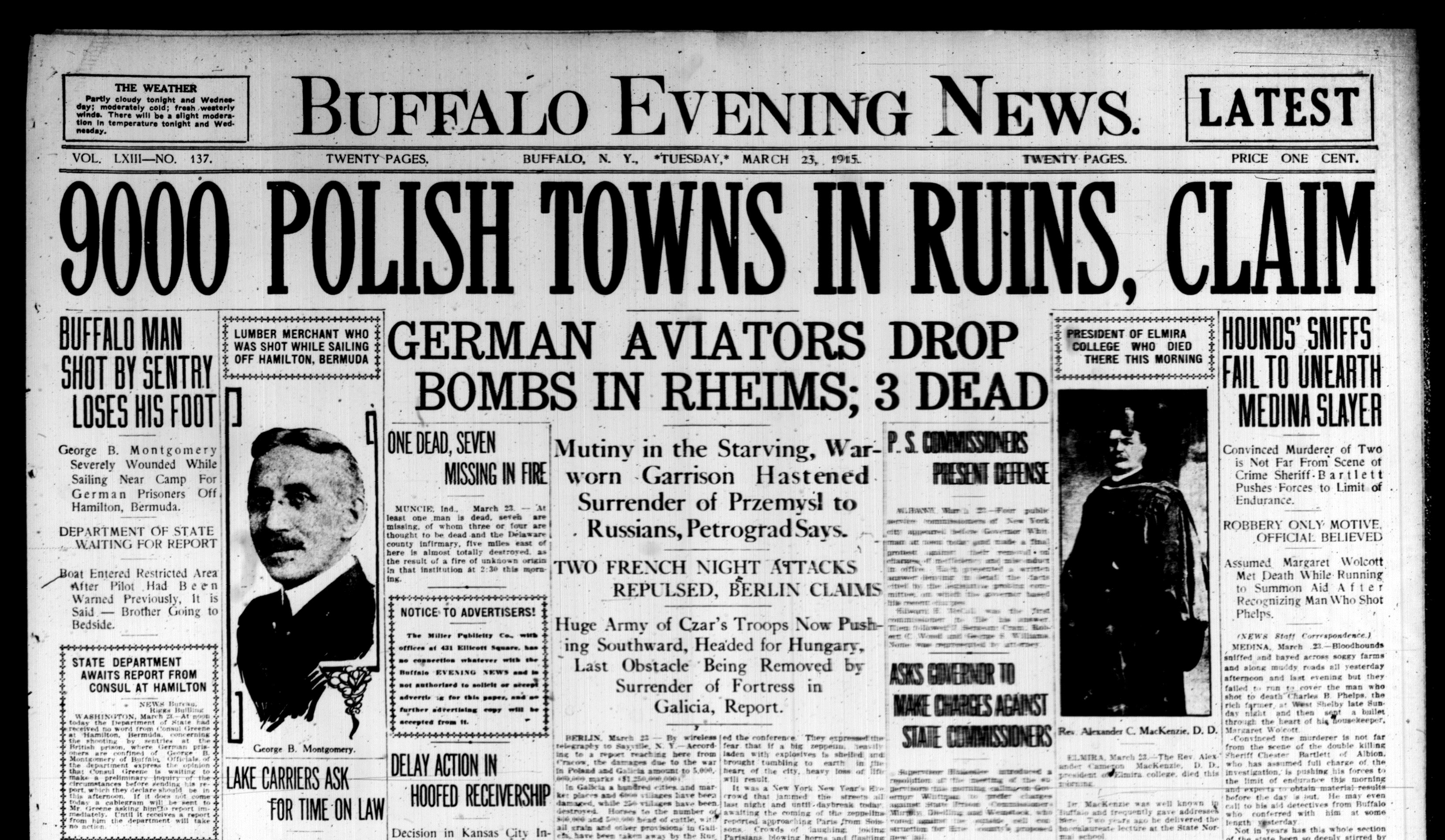Front page March 23, 1915: Bloodhounds fail in search for Medina murderer