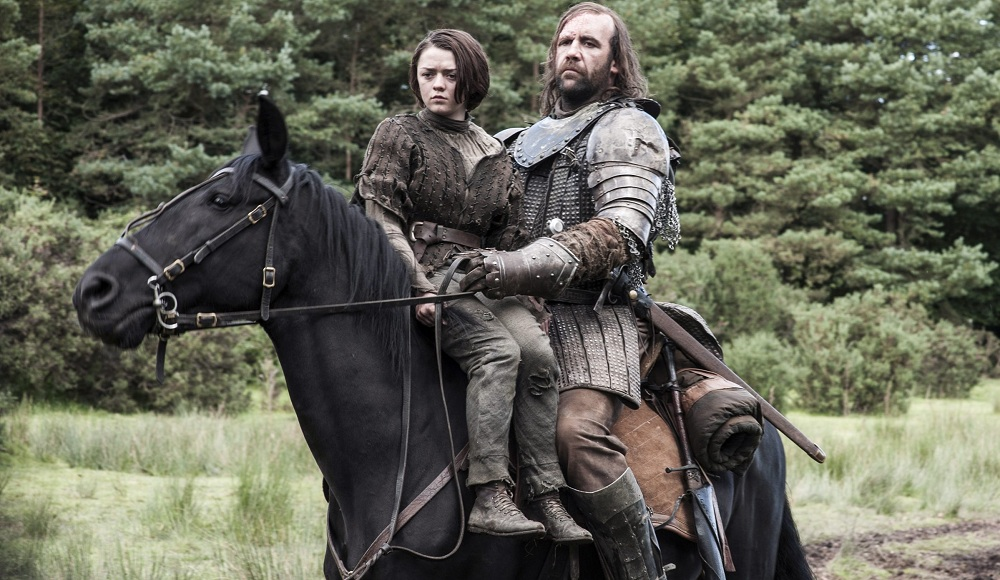 Maisie Williams, left, and Rory McCann in HBO's 'Game of Thrones.' Blue Monk will host one of 13 Brewery Ommegang viewing parties across the country. (HBO)