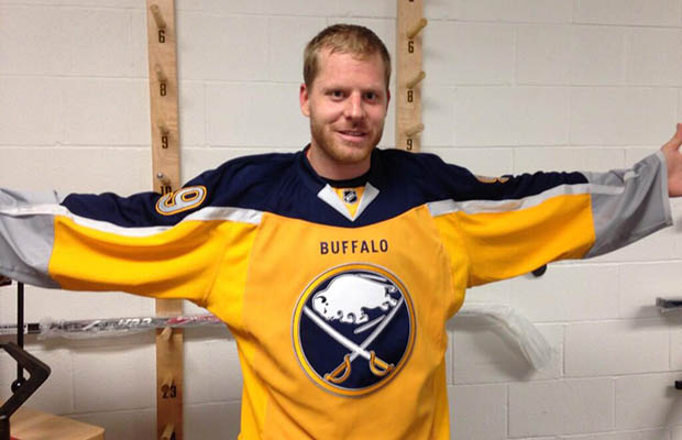 The Sabres' third jersey, unveiled in 2013 via this photo of captain Steve Ott on Sabres.com, is being dropped.