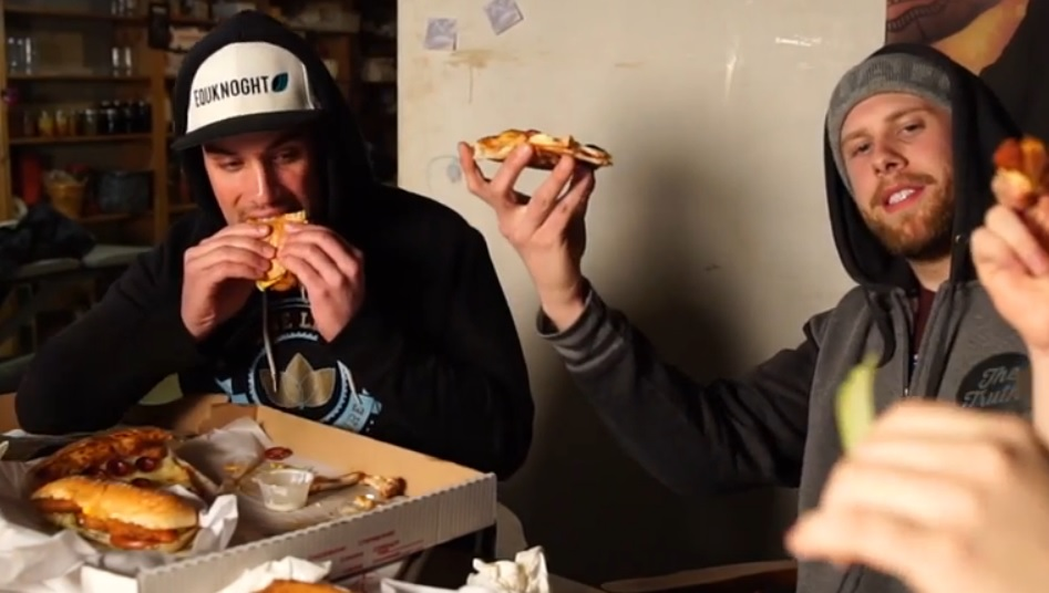 T.J. Crely, left, and Alek Wochensky collaborate on 'Pizza, Subs and Wings.'