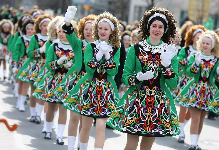 Members of the Rince Na Tiarna School of Irish Dance march along Delaware Avenue in Buffalo during the annual St. Patrick's Day Parade in 2013. (Buffalo News file photo)