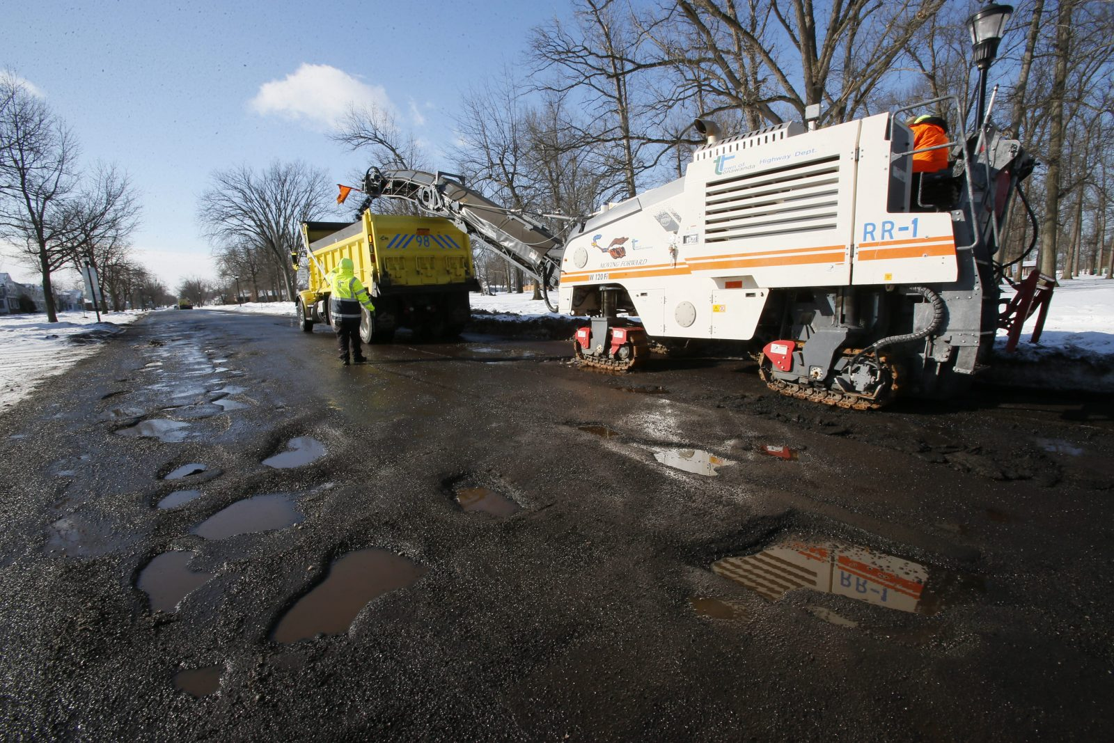 Amherst would like to know about potholes in the town. (Derek Gee/News file photo)